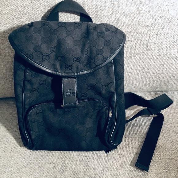 4fbbb0ed7c9 Gucci Handbags - Gucci Gg Monogram Black Canvas Backpack